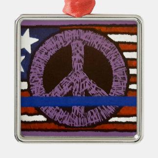 Police Peace Sign. Silver-Colored Square Ornament