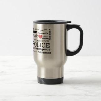 Police Pride-Red Heart/Text Design Travel Mug