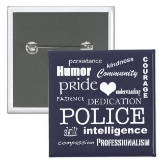 Police Pride-White Heart/Text Design 2 Inch Square Button