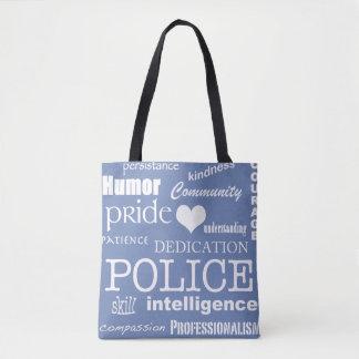Police Pride-White Heart/Text Design Tote Bag