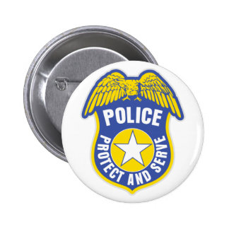 Police Protect and Serve Badge 2 Inch Round Button