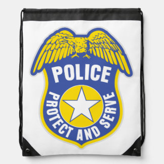 Police Protect and Serve Badge Cinch Bag