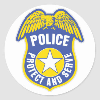 Police Protect and Serve Badge Round Sticker