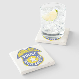 Police Protect and Serve Badge Stone Coaster