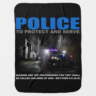 Police Protect And Serve Blue Lives Matter Baby Receiving Blanket