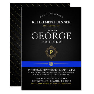 Police Retirement Dinner Monogram Black Invite