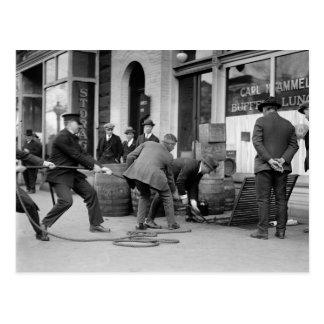 Police Seizing Bootleg Liquor, 1923 Postcard