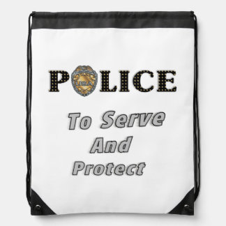 Police Serve and Protect Drawstring Backpack