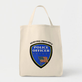Police Serving Proudly Grocery Tote Bag