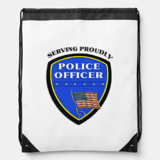 Police Serving Proudly Drawstring Backpacks