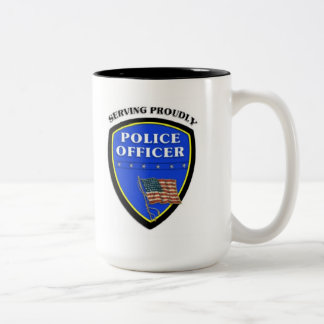 Police Serving Proudly Two-Tone Coffee Mug
