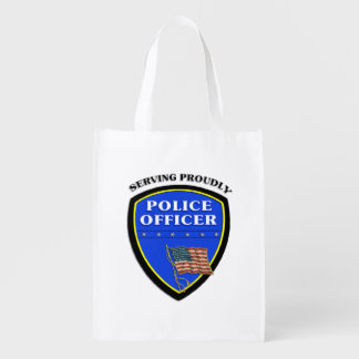 Police Serving Proudly Grocery Bag