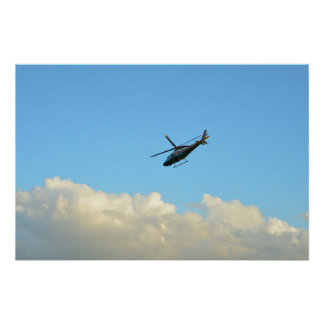 police sheriff helicopter in blue florida sky poster