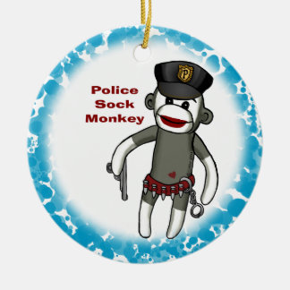 Police Sock Monkey blue ceramic round ornament