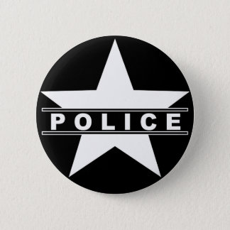police star text department badge law symbol 2 inch round button