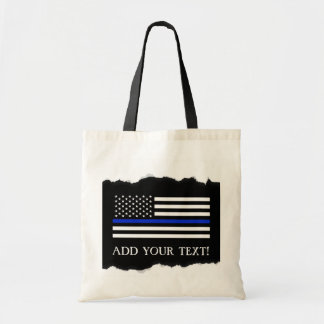 Police Style American Flag Custom Tote Bag