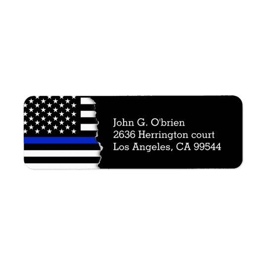 Police Style American Flag Return Address Label