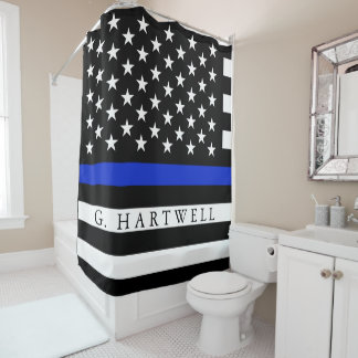 Police Styled American Flag Custom Name