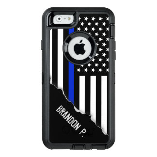 Police Styled American Flag Custom Name OtterBox Defender iPhone Case
