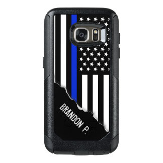 Police Styled American Flag Custom Name OtterBox Samsung Galaxy S7 Case