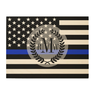 Police Styled American Flag Customized Wood Wall Decor