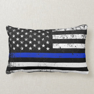 Police Styled Distressed American Flag Lumbar Pillow