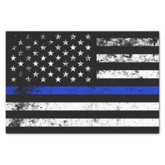 Police Styled Distressed American Flag Tissue Paper