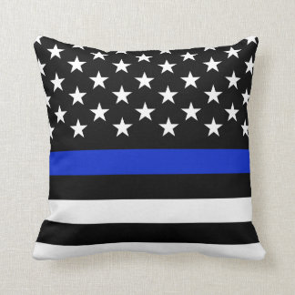 Police Styled Wide American Flag Throw Pillow