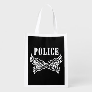 Police Tattoo Reusable Grocery Bags