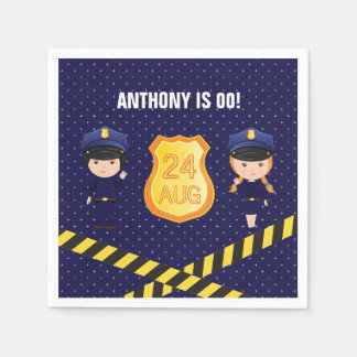Police themed Birthday Party personalized Paper Napkin