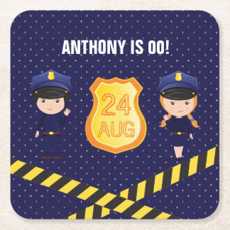 Police themed Birthday Party personalized Square Paper Coaster