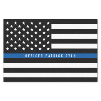 Police Thin Blue Line American Flag Add Name 10x15 Tissue Paper