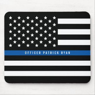 Police Thin Blue Line American Flag Add Name Mouse Pad