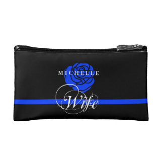 Police Wife Thin Blue Line Rose Custom Name Makeup Bag