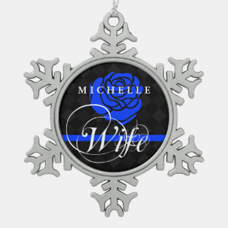 Police Wife Thin Blue Line Rose Custom Name Snowflake Pewter Christmas Ornament