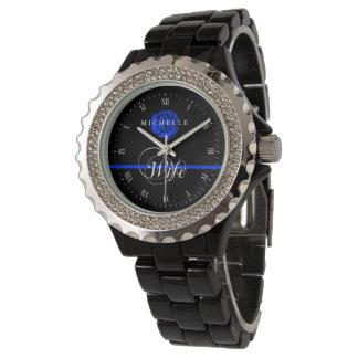 Police Wife Thin Blue Line Rose Custom Name Watch