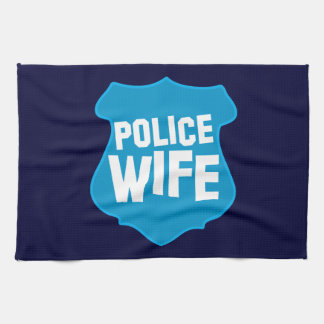 Police WIFE with officers badge shield Kitchen Towels