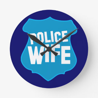 Police WIFE with officers badge shield Wallclocks