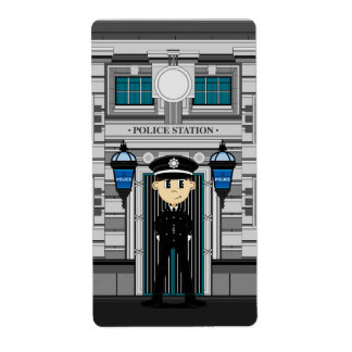 Policeman and Police Station Sticker