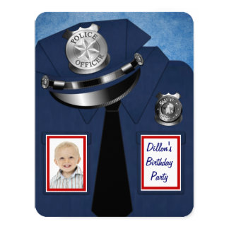 Policeman Birthday Party Card