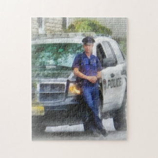 Policeman by Patrol Car Jigsaw Puzzle
