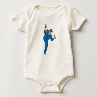 Policeman Gun Flashlight Torch Kicking Drawing Baby Bodysuit
