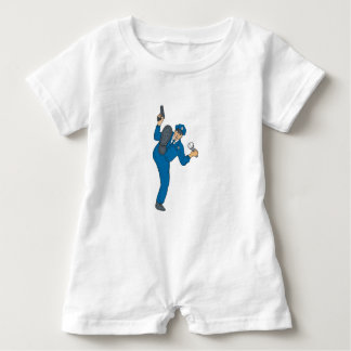 Policeman Gun Flashlight Torch Kicking Drawing Baby Romper