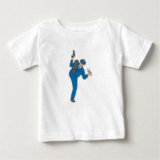 Policeman Gun Flashlight Torch Kicking Drawing Baby T-Shirt