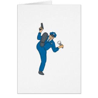 Policeman Gun Flashlight Torch Kicking Drawing Card