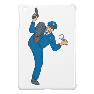 Policeman Gun Flashlight Torch Kicking Drawing iPad Mini Cover