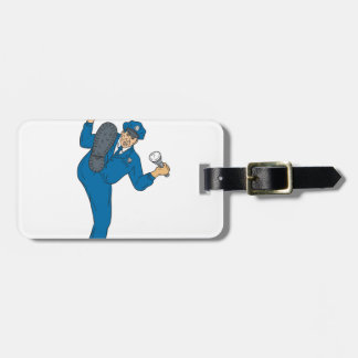 Policeman Gun Flashlight Torch Kicking Drawing Luggage Tag