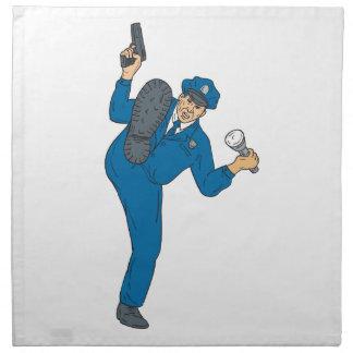 Policeman Gun Flashlight Torch Kicking Drawing Napkin