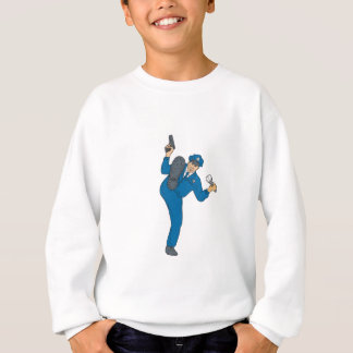 Policeman Gun Flashlight Torch Kicking Drawing Sweatshirt