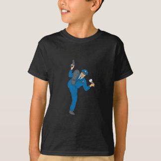 Policeman Gun Flashlight Torch Kicking Drawing T-Shirt